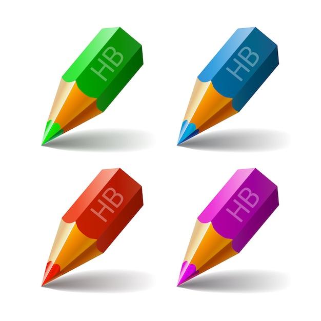Set vector icons pencils Premium Vector