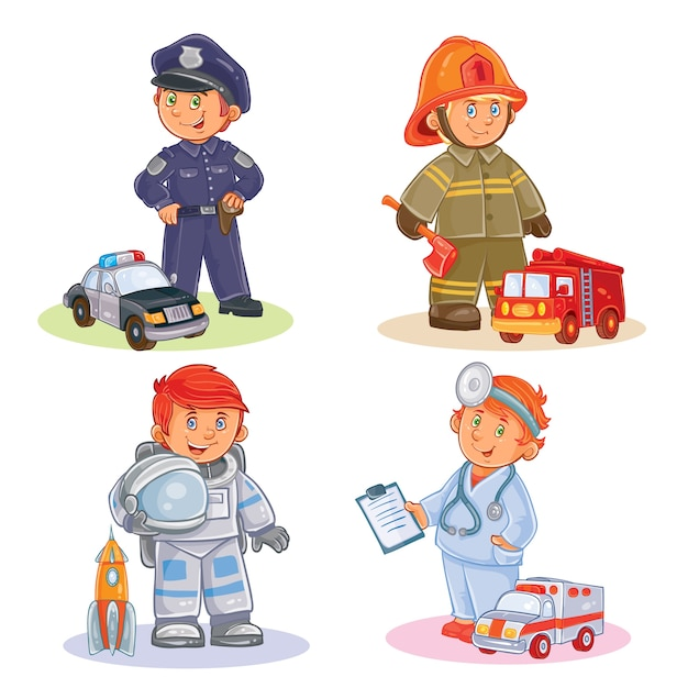 Set vector icons of small children different professions Free Vector