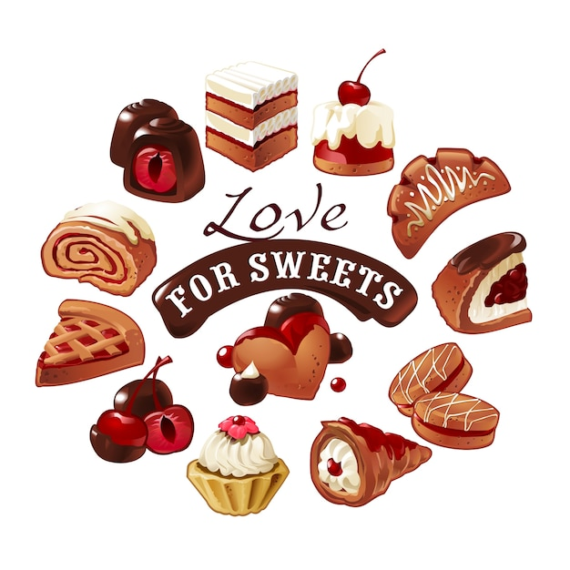 Set of vector icons  sweets Free Vector