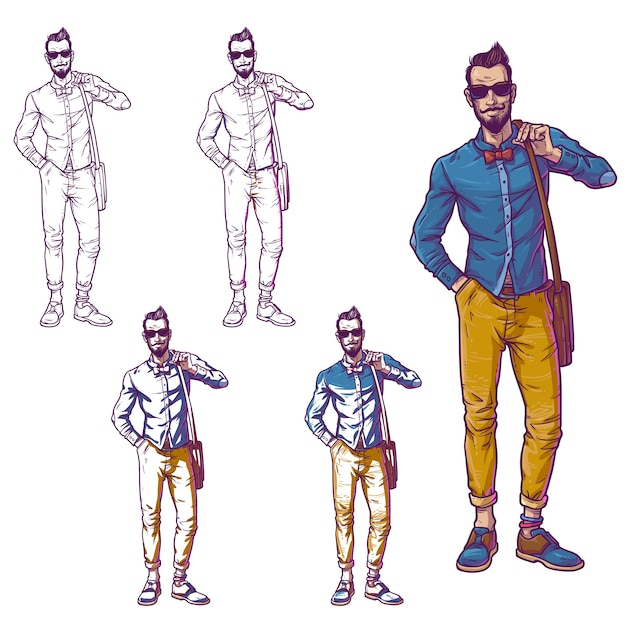Set vector illustration of a fashionable guy Free Vector