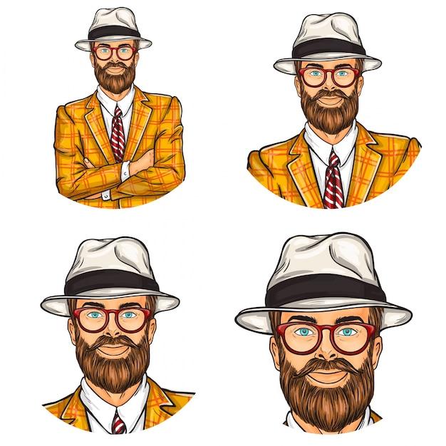 Set of vector illustration, mens pop art round avatars icons Free Vector