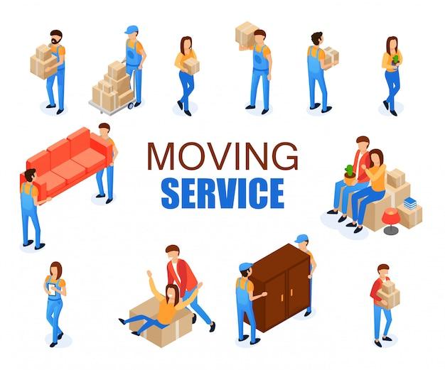 Set vector illustration moving service cartoon. Premium Vector