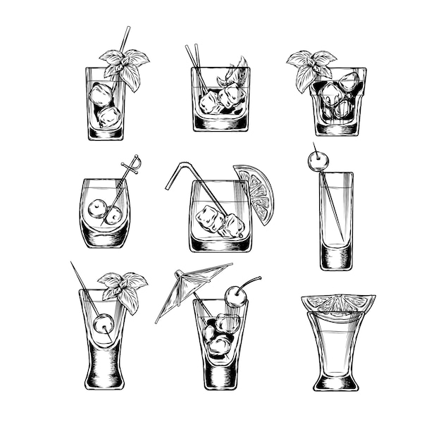 Set of vector illustration stemware Free Vector