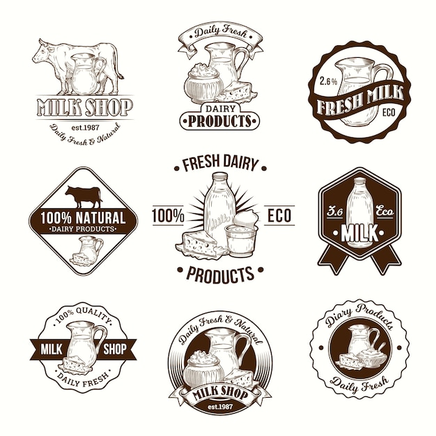 Set of vector illustrations, badges, stickers, labels, logo, stamps for milk and dairy products Free Vector