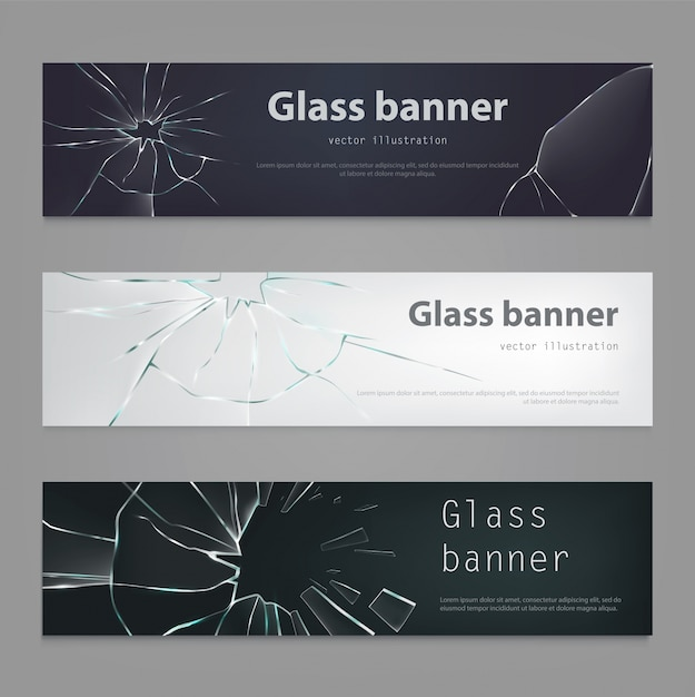 Set of vector illustrations of broken glass banners ,cracked glass. Free Vector
