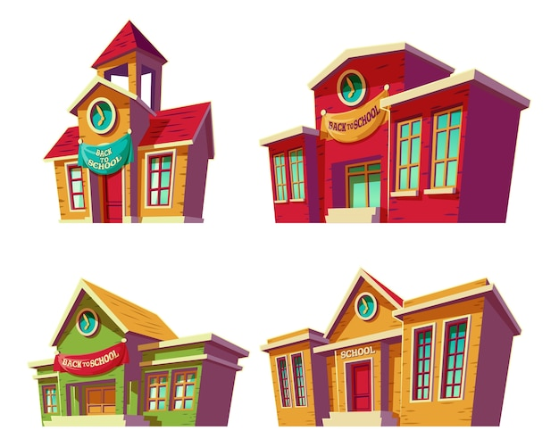 Set of vector illustrations cartoon of various color educational institutions, schools. Free Vector