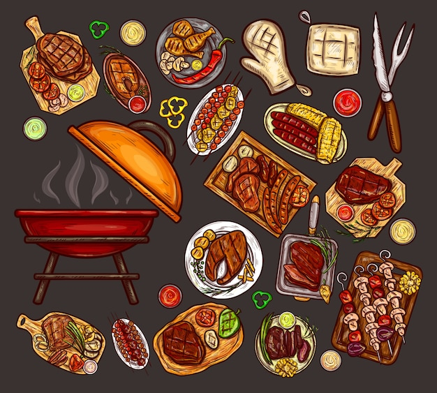 Set of vector illustrations, elements for barbecue Free Vector
