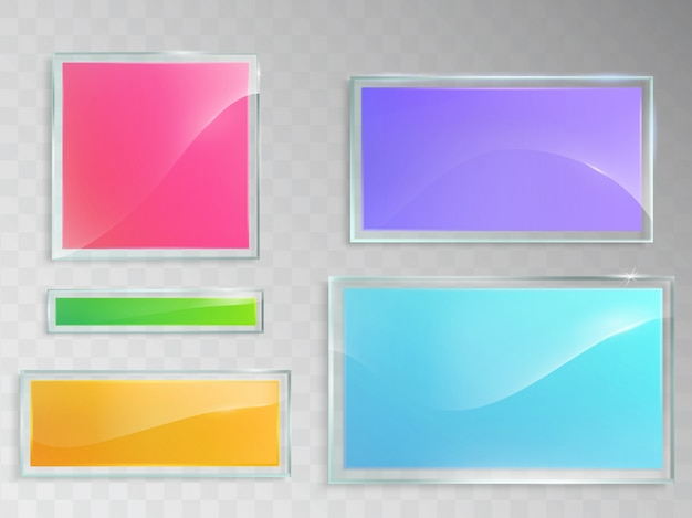 Set of vector illustrations of glass banners isolated on gray background. Free Vector