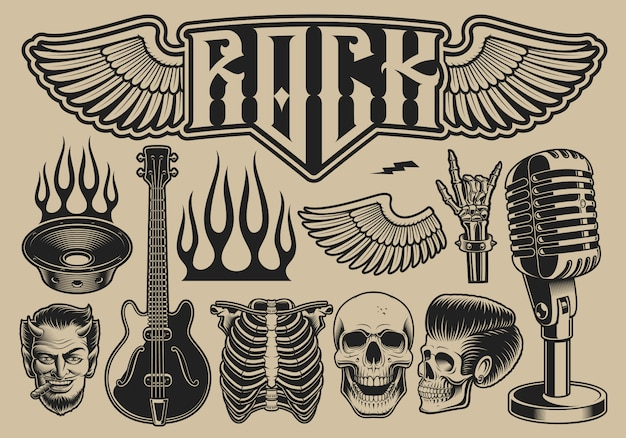 Set of vector illustrations on the theme of rock roll on a light background Premium Vector