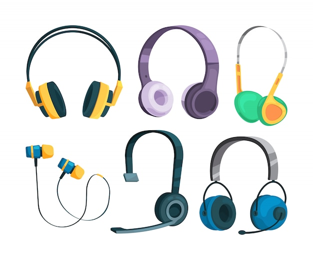 Set vector illustrations of various headphones Premium Vector