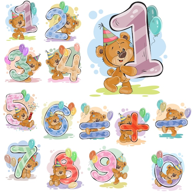 A set of vector illustrations with a brown teddy bear and numerals and mathematical symbols. Free Vector