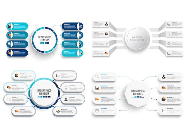 Set vector infographic with 3d paper label. Premium Vector