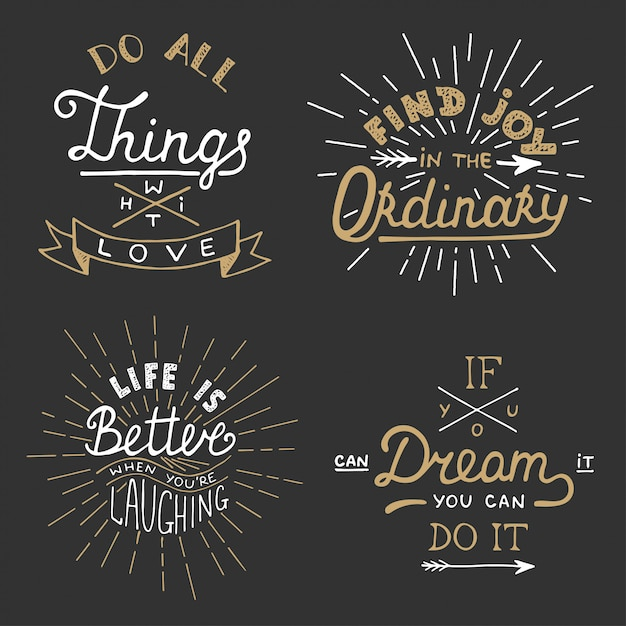 Set of vector inspirational lettering for posters. Premium Vector