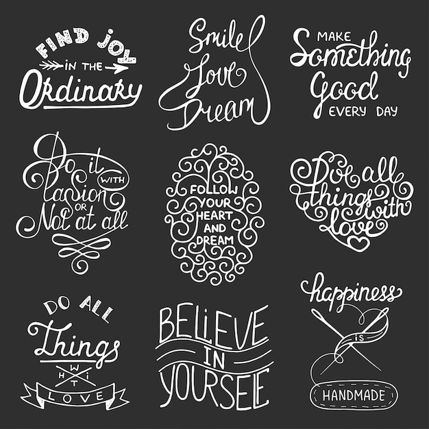 Set of vector inspirational typography slogans Premium Vector