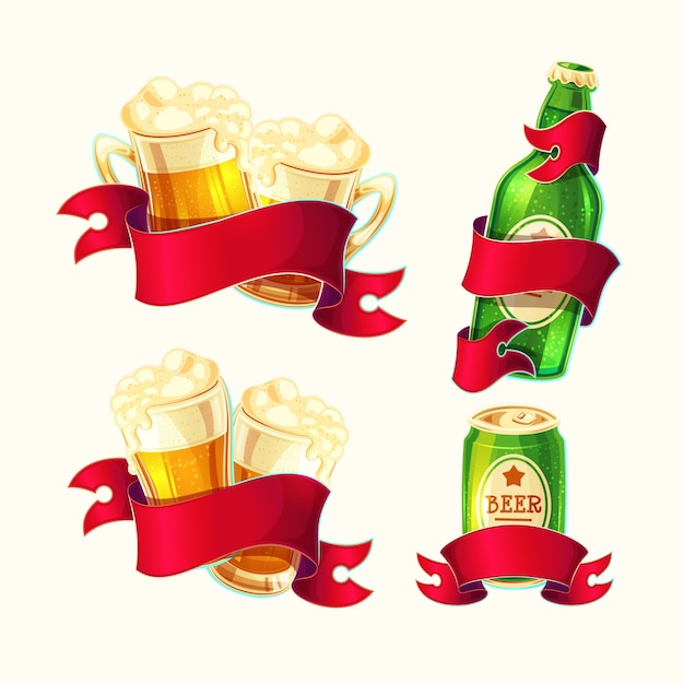 Set of vector isolated cartoon illustrations beer glasses, glass bottle, aluminum can with red ribbon. Free Vector