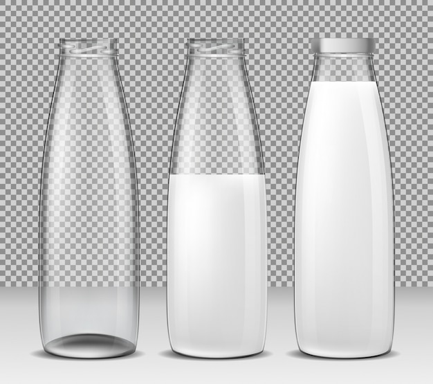 Set of vector isolated illustrations, icons, glass bottles for milk and dairy products Free Vector