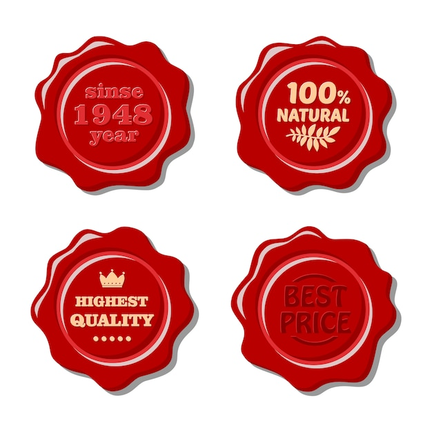 Set of vector isolated red wax stamp Premium Vector