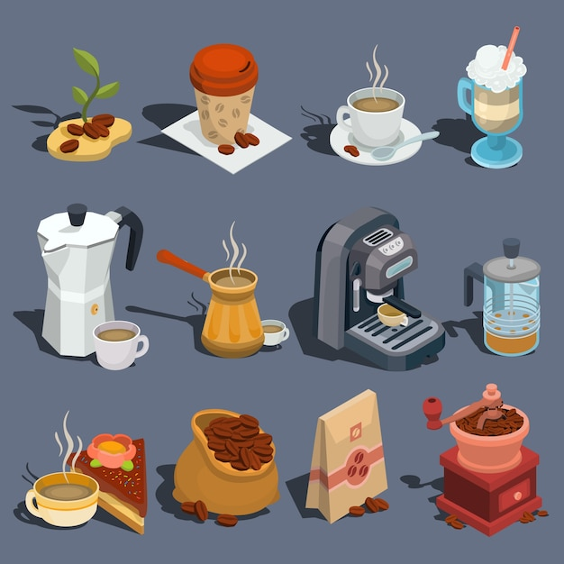 Set of vector isometric coffee icons, stickers, prints, design elements Free Vector