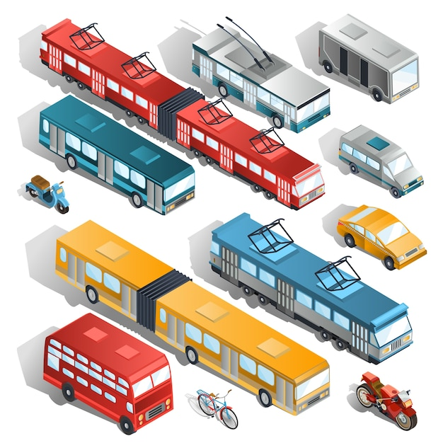 Set of vector isometric illustrations of municipal city transport Free Vector