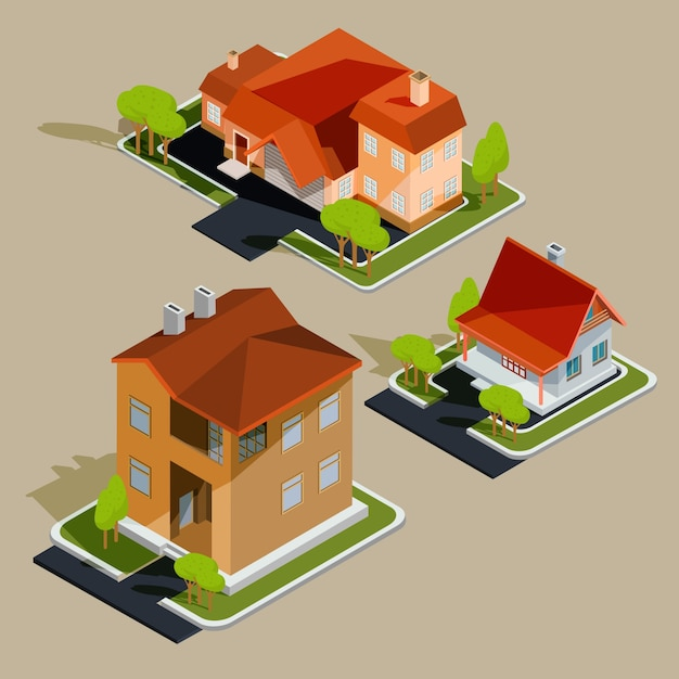 Set of vector isometric residential houses, cottages Free Vector