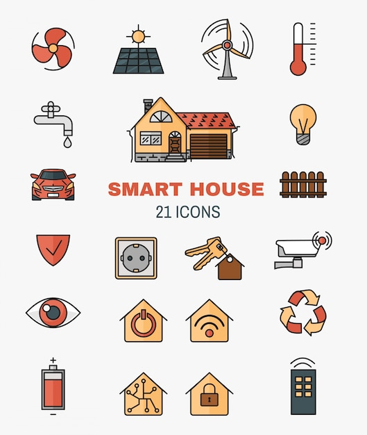 Set vector line art icons of the smart home, controlling through internet home work equipment. Free Vector