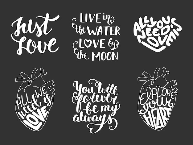 Set of vector love romantic lettering Premium Vector