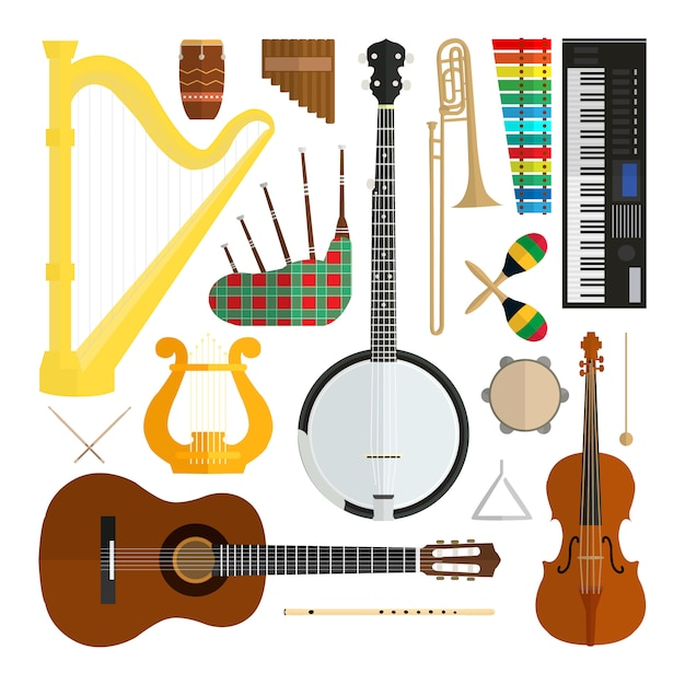 Set of vector modern flat design musical instruments isolated on white background. Premium Vector