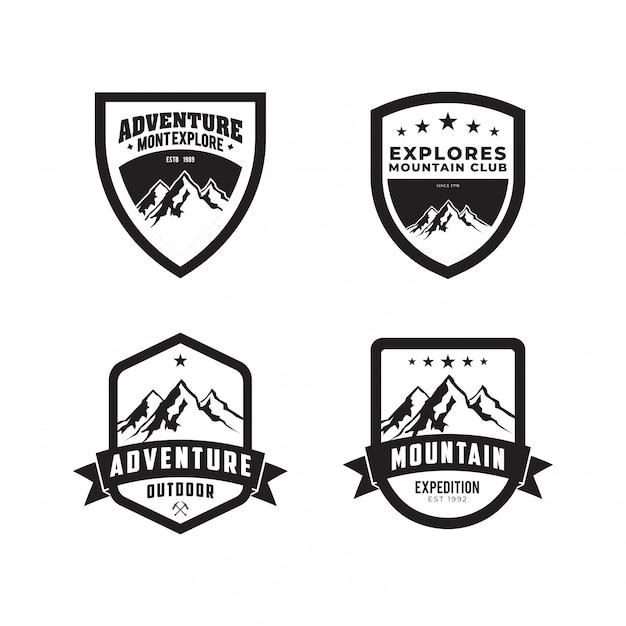 Set vector mountain outdoor adventures logo Premium Vector