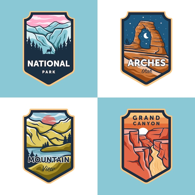 Set of vector national park outdoor badge Premium Vector