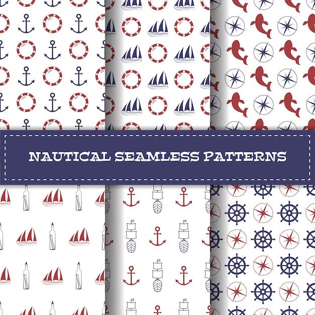 Set of vector nautical seamless patterns Premium Vector