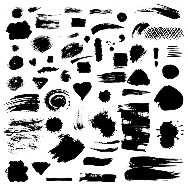 Set of vector paint stains. Premium Vector