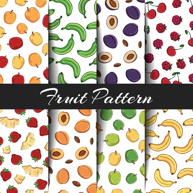 Set of vector patterns on the fruits theme. Premium Vector