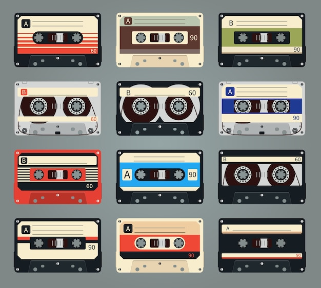 Set of vector retro audio cassettes. tape and audio, music and sound, media and record Free Vector