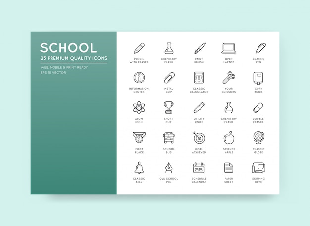 Set of vector school icons Premium Vector