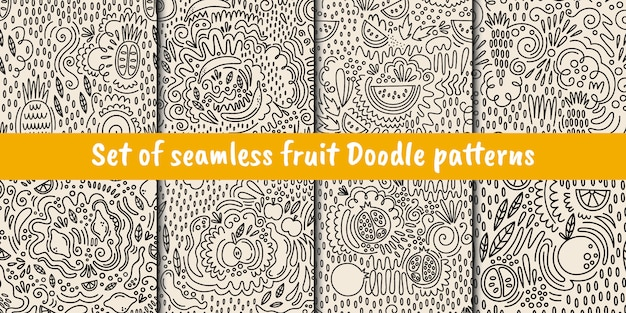 Set of vector seamless fruit patterns in doodle style Premium Vector