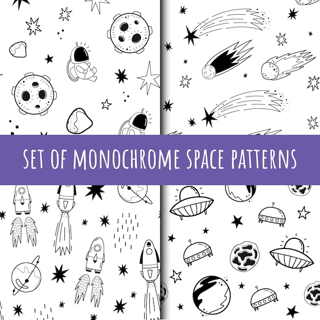 A set of vector seamless monochrome patterns. cosmos. doodle Premium Vector