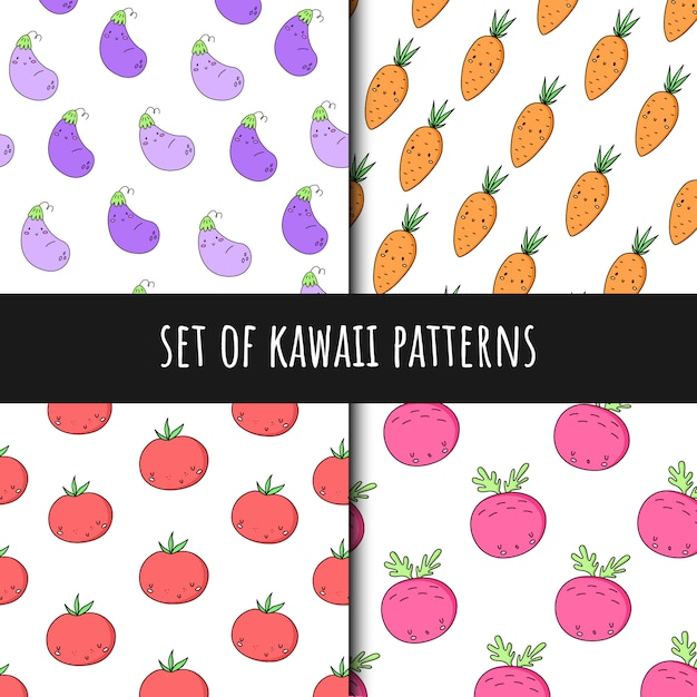 Set of vector seamless patterns in kawaii style Premium Vector