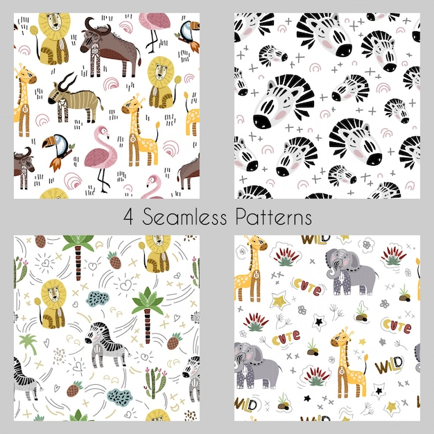 Set - vector seamless patterns with cartoon african animals, plants, birds Premium Vector