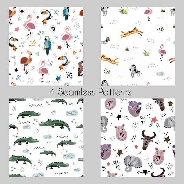 Set vector seamless patterns with cartoon african animals, plants, birds Premium Vector