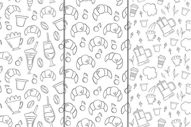 Set of vector seamless patterns with coffee and desserts Premium Vector