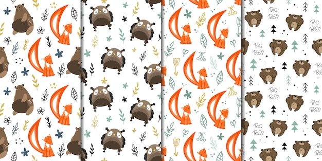 Set of vector seamless patterns with forest animals. Premium Vector
