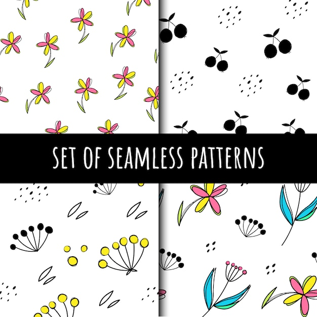 Set of vector seamless patterns Premium Vector