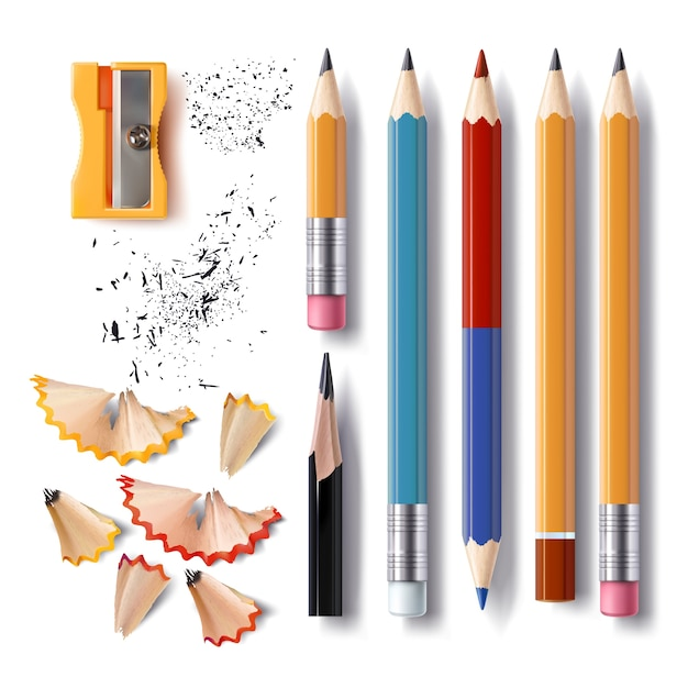 Set of vector sharpened pencils of various lengths with a rubber, a sharpener, pencil shavings Free Vector