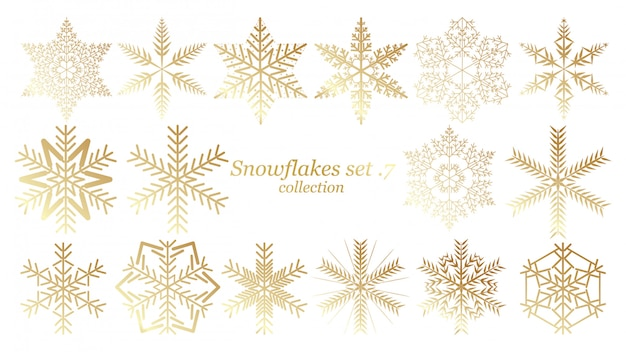 Set of vector snowflakes christmas design with gold color Premium Vector