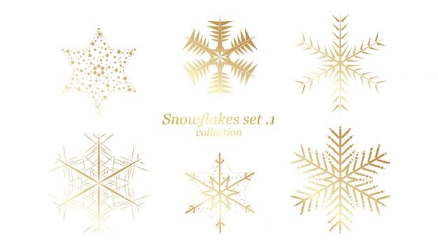 Set of vector snowflakes christmas design Premium Vector