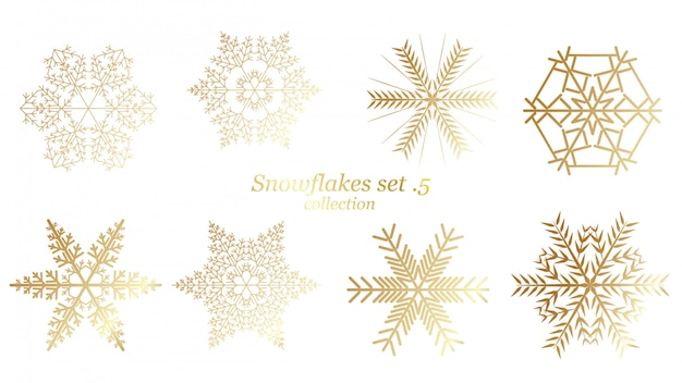 Set of vector snowflakes christmas with gold luxury color Premium Vector