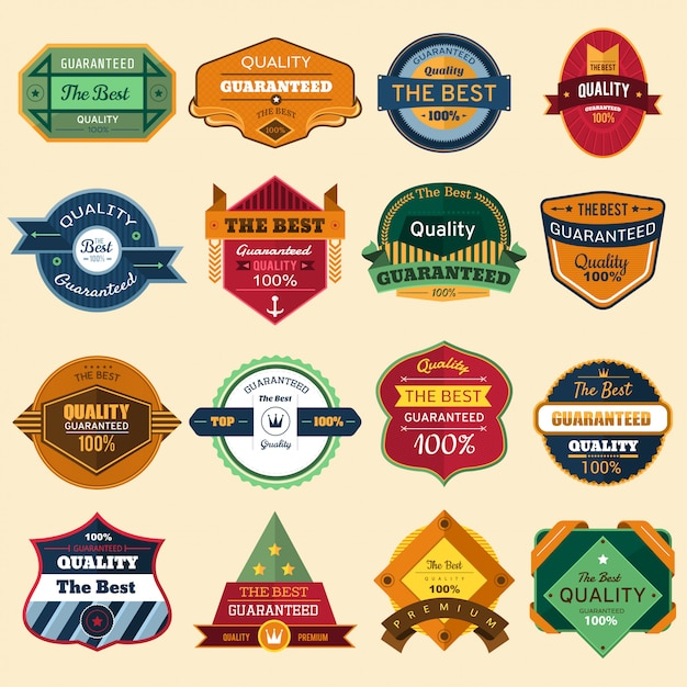 Set of vector stickers and badges Premium Vector