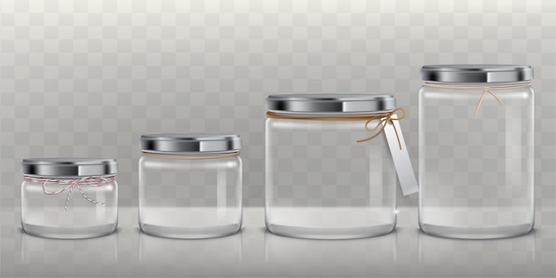 Set of vector transparent glass jars for storage of food products, canning and preserving, Free Vector
