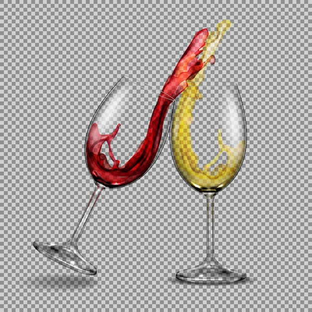 Set vector transparent glasses with white and red wine with a splash out of them Free Vector