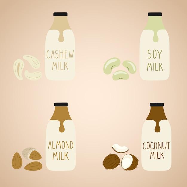Set of vegan milk in a cartoon bottles. Premium Vector